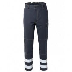 Pantalone cotone irrestringibile con strisce rifrangenti modello SerioPlus +