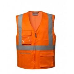 Gilet da Lavoro Arancione Ad Alta Visibilità Catarifrangente Modello Ken LUCENTEX