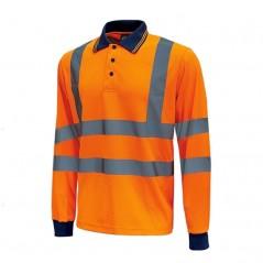 Polo arancione maniche lunghe alta visibilità U-Power Haze
