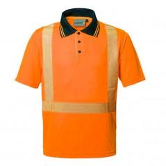 Polo Arancione Modello SEAL LUCENTEX Mezza Manica Alta Visibilità Rifrangente